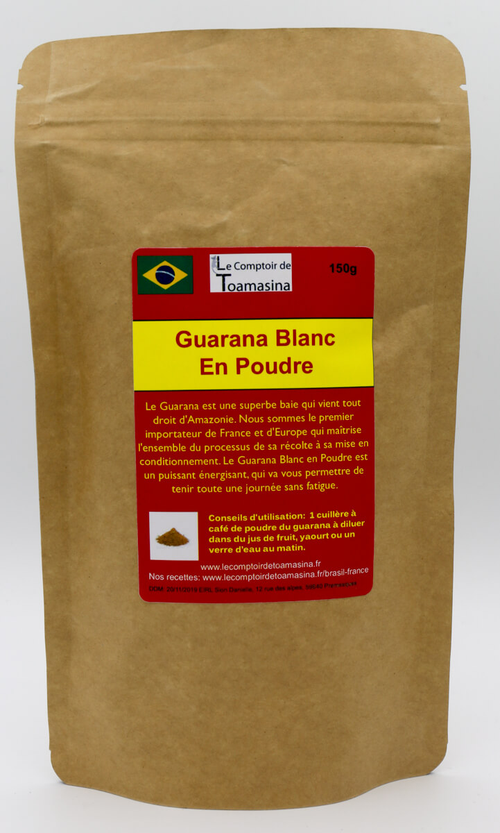 Guarana Blanc en Poudre, Poudre de Guarana 100% NAturel
