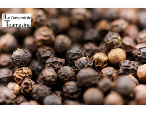 Poivre Noir de Sarawak en Grain et en vrac, poivre noir puissant, fruité et boisé