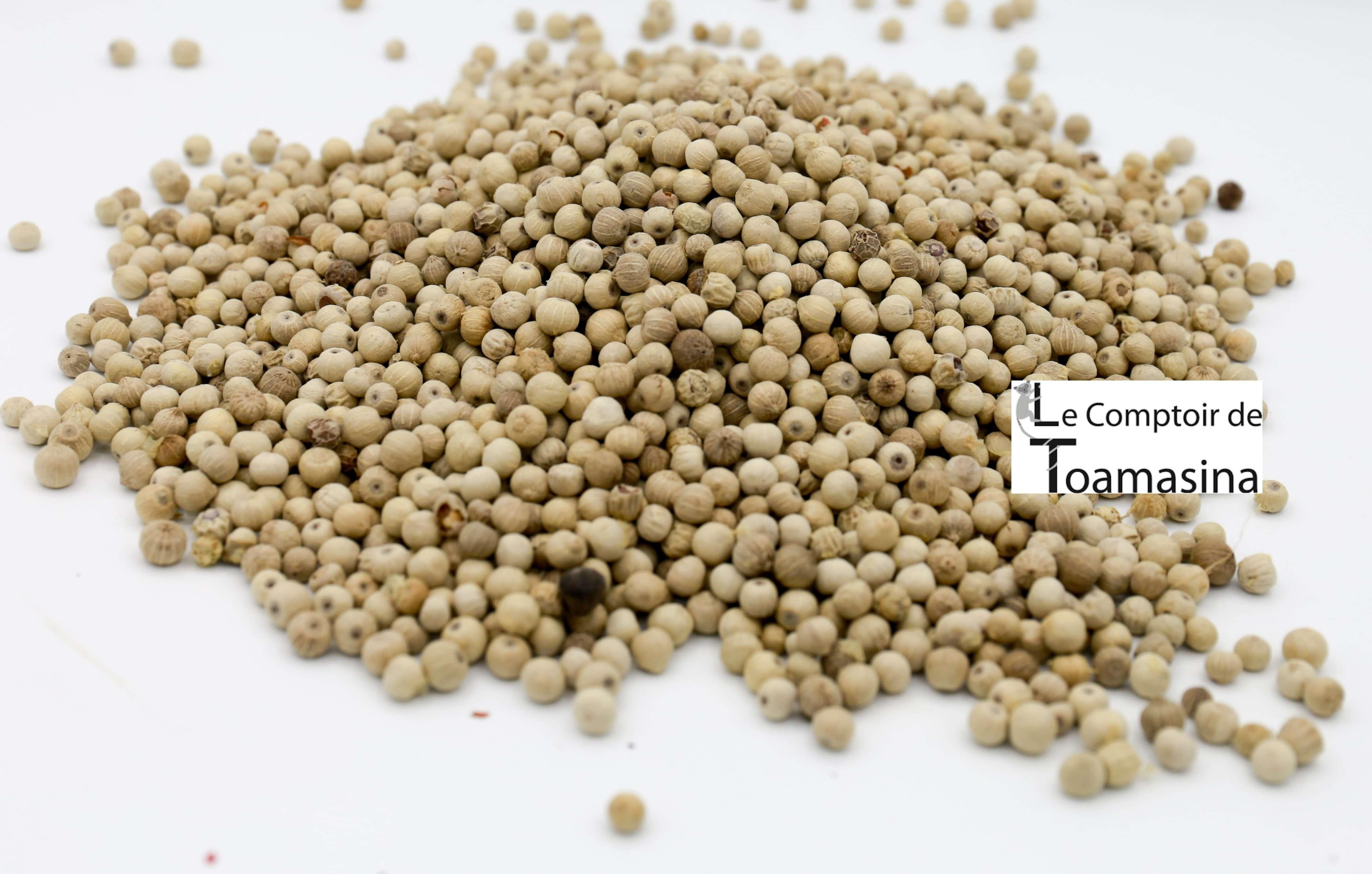 Poivre Muntok Blanc en grains entier (Piper Nigrum)