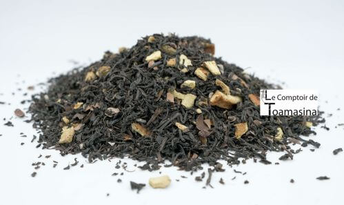 Black tea flavored with chocolate and orange