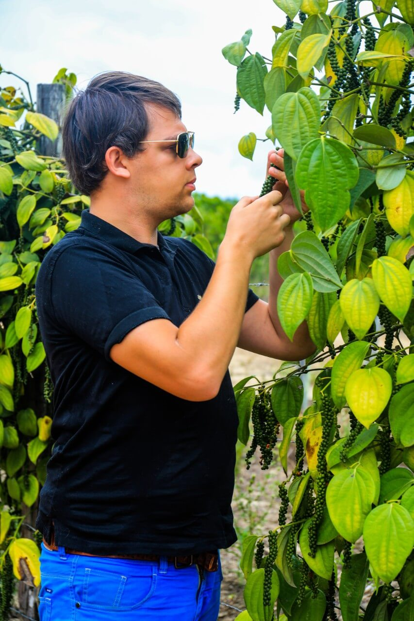 Arnaud creator of Comptoir de Toamasina in a pepper plantation