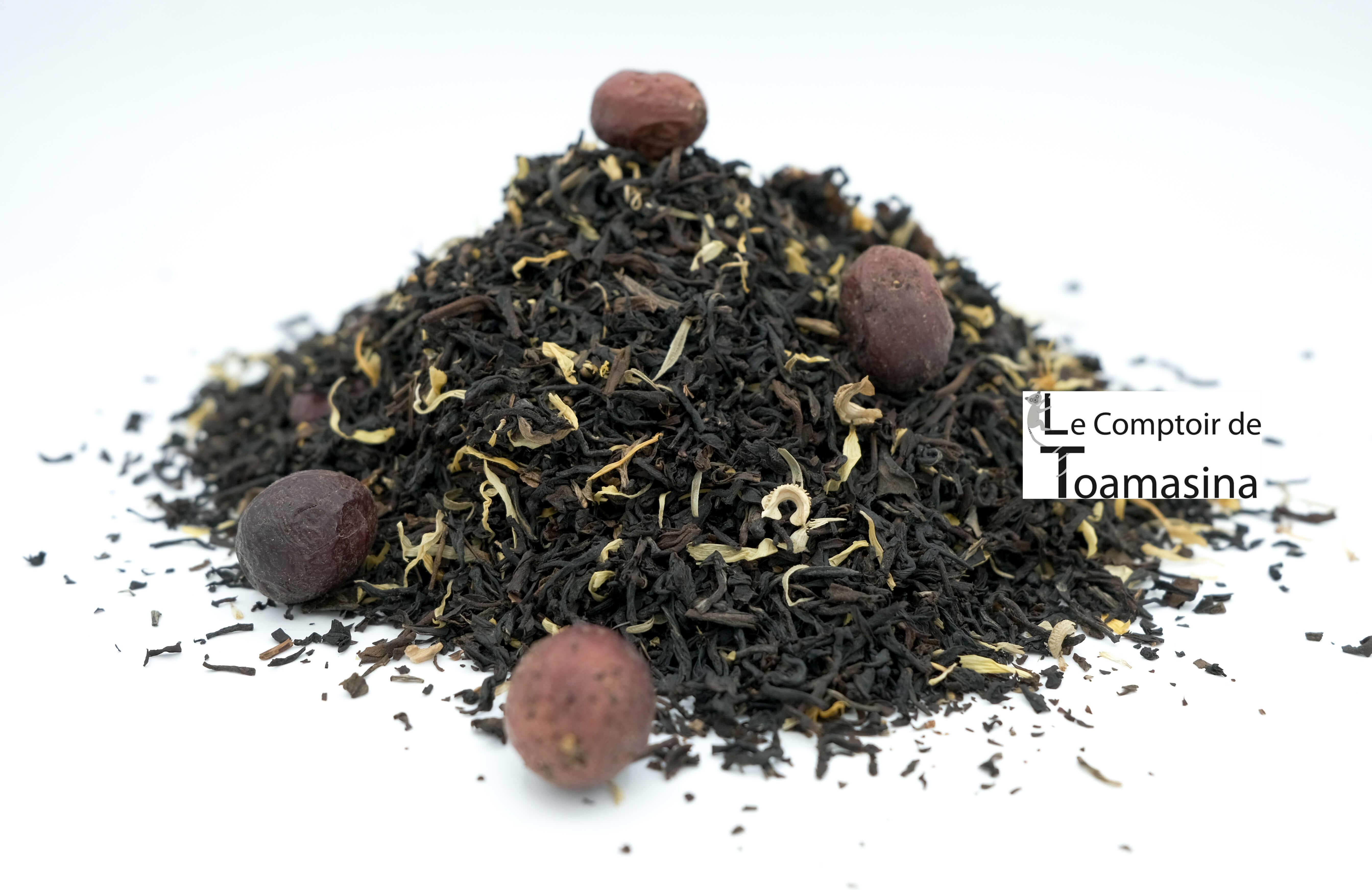 hé Noir Sensuel, Le thé de la saint Valentin -thé-noir-fraise-canneberge