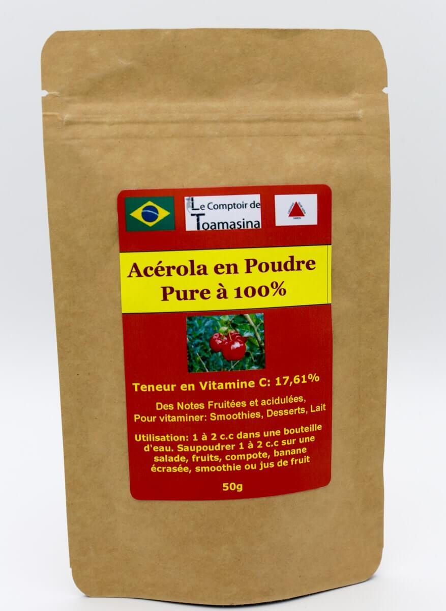 Acérola Poudre Pure, Achat et Vente d'acérola en poudre 100% pure Vitamine C